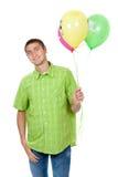 Gelukkige bejaarde met kleurrijke ballons Stock Afbeeldingen