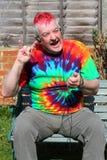 Gelukkige bejaarde tuimelschakelaar. Royalty-vrije Stock Foto