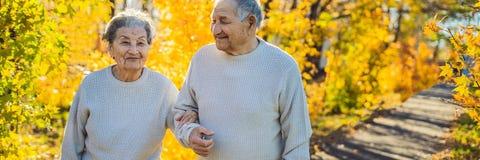 Gelukkige bejaarden in de de herfst bosfamilie, de leeftijd, het seizoen en mensenconcept - gelukkig hoger paar die over lopen royalty-vrije stock foto's