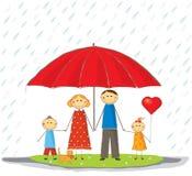 Gelukkige beschermde familie Stock Afbeelding