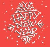 Gelukkige Bewerkte Nieuwjaar Van letters voorziende Hand Royalty-vrije Stock Afbeelding