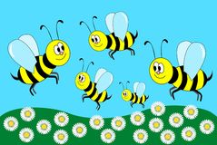 Gelukkige bijen Stock Afbeeldingen