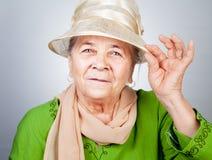 Gelukkige blije oude hogere dame stock foto's