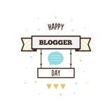 Gelukkige bloggerdag Vector illustratie Stock Afbeelding