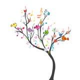Gelukkige boom met vogels Stock Afbeeldingen