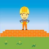 Gelukkige bouwer bij bouwwerf Royalty-vrije Stock Afbeelding