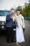 Gelukkige bruid en bruidegom dichtbij huwelijkslimo stock afbeelding