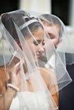 Gelukkige bruid en bruidegom, gedrapeerde huwelijkssluier Royalty-vrije Stock Fotografie