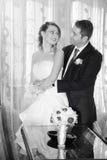 Gelukkige bruid en bruidegom in het huis Rebecca 36 Stock Afbeeldingen