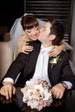 Gelukkige bruid met bruidegom Stock Afbeelding