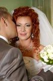 Gelukkige bruids Stock Afbeeldingen