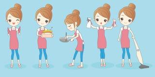 Gelukkige cartoon housewife do work Stock Foto's