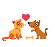 Gelukkige Cat And Dog Friendship Beeldverhaalillustratie van Beste Vrienden Royalty-vrije Stock Afbeelding