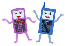 Gelukkige cellphones Stock Foto