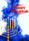 Gelukkige Chanoeka, Joodse vakantieachtergrond Stock Foto