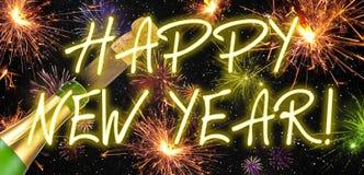 Gelukkige charmeamulet met confettien, cork, champagnefles Gelukkig Nieuwjaar De vooravond van nieuwjaren stock illustratie
