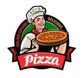 Gelukkige chef-kok met in hand pizza Pizzeriaembleem of etiket De vectorillustratie van het beeldverhaal stock illustratie