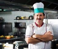 Gelukkige chef-kok op het werk Royalty-vrije Stock Foto's