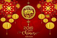 Gelukkige Chinese nieuwe jaar 2019 kaart Jaar van het varken vector illustratie