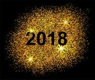 Gelukkige Chinese Nieuwjaar 2018 prentbriefkaar Gouden punten op zwarte Royalty-vrije Stock Foto's