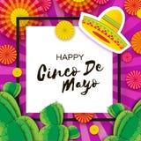 Gelukkige Cinco De Mayo-groetkaart Kleurrijke Document Ventilator en Cactus in document besnoeiingsstijl De hoed van de origamiso