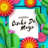 Gelukkige Cinco De Mayo-groetkaart Kleurrijke Document Ventilator en Cactus in document besnoeiingsstijl Mexico, Carnaval Vierkan