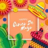 Gelukkige Cinco De Mayo-groetkaart Kleurrijke Document Ventilator, Grappige Pinata en Cactus in document besnoeiingsstijl De hoed Royalty-vrije Stock Fotografie
