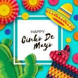 Gelukkige Cinco De Mayo-groetkaart Kleurrijke Document Ventilator, Grappige Pinata en Cactus in document besnoeiingsstijl De hoed royalty-vrije illustratie