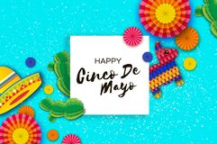 Gelukkige Cinco De Mayo-groetkaart Kleurrijke Document Ventilator, Grappige Pinata en Cactus in document besnoeiingsstijl De hoed Royalty-vrije Stock Afbeeldingen