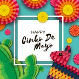 Gelukkige Cinco De Mayo-groetkaart Kleurrijke Document Ventilator, Grappige Pinata en Cactus in document besnoeiingsstijl Mexico, stock illustratie