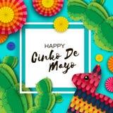 Gelukkige Cinco De Mayo-groetkaart Kleurrijke Document Ventilator, Grappige Pinata en Cactus in document besnoeiingsstijl Mexico,