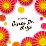 Gelukkige Cinco De Mayo-groetkaart Kleurrijke Document Ventilator Mexico, Carnaval vakantie