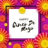 Gelukkige Cinco De Mayo-groetkaart Kleurrijke Document Ventilator Mexico, Carnaval Vierkant kader op purple Ruimte voor tekst