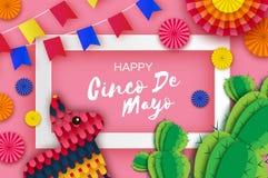 Gelukkige Cinco De Mayo-groetkaart De kleurrijke Document Ventilator, de Vlaggen, Grappige Pinata en de Cactus in document snijde