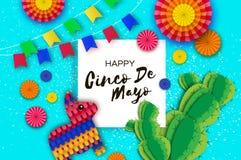 Gelukkige Cinco De Mayo-groetkaart De kleurrijke Document Ventilator, de Vlaggen, Grappige Pinata en de Cactus in document snijde Stock Foto's