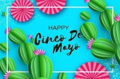 Gelukkige Cinco De Mayo-groetkaart Roze Document Ventilator en Cactus in document besnoeiingsstijl Mexico, Carnaval Rechthoekkade