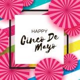 Gelukkige Cinco De Mayo-groetkaart Roze Document Ventilator Mexico, Carnaval Vierkant kader op kleurrijke strepen Ruimte voor tek