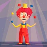 Gelukkige circusclown De vectorillustratie van het beeldverhaal Royalty-vrije Stock Fotografie