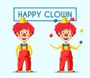 Gelukkige circusclown De vectorillustratie van het beeldverhaal Stock Foto's