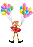 Gelukkige Clown met Ballons Stock Afbeeldingen