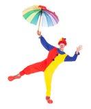 Gelukkige clown met paraplu Royalty-vrije Stock Fotografie