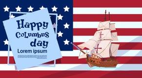 Gelukkige Columbus Day Ship Over American-Vlag op de Groetkaart van de Vakantieaffiche Stock Foto's