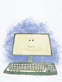 Gelukkige computer Stock Foto's