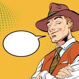 Gelukkige cowboy Het karakter van het beeldverhaal Het wilde westen royalty-vrije illustratie