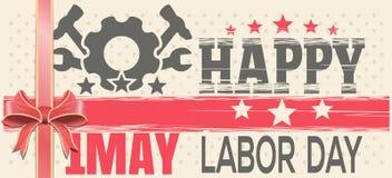 Gelukkige Dag van de Arbeid 1 MEI Retro achtergrond voor 1 Mei Royalty-vrije Stock Afbeeldingen