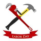 Gelukkige Dag van de Arbeidillustratie Reeks van pijpmoersleutel, hamer vector illustratie