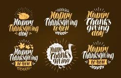 Gelukkige Dankzegging, etiketreeks Vakantiesymbool of embleem Van letters voorziende Vectorillustratie vector illustratie