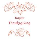 Gelukkige Dankzegging Hand-drawn patroon met esdoorn en eiken bladeren Royalty-vrije Stock Afbeeldingen