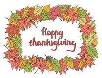 Gelukkige dankzeggingskaart met het van letters voorzien Stock Afbeelding