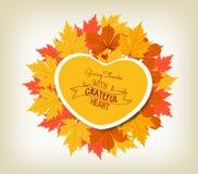 Gelukkige Dankzeggingssticker, bladeren van de het etiket de mooie esdoorn van de hartvorm royalty-vrije illustratie